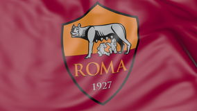 挥动的旗子特写镜头与A的 S 罗马橄榄球俱乐部商标 免版税库存照片