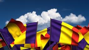 挥动的罗马尼亚旗子 向量例证