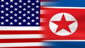 挥动的美国和北朝鲜旗子,为无缝的圈准备 影视素材