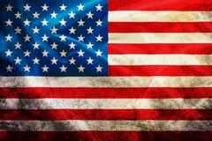 挥动的葡萄酒美国国旗美国纹理, 免版税库存图片