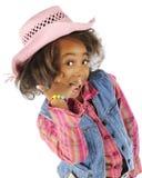 挥动的年轻女牛仔特写镜头 免版税库存照片