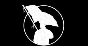 挥动美国旗子第2动画的美国爱国者 皇族释放例证