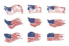 挥动美国旗子集合的葡萄酒 挥动在难看的东西纹理的传染媒介美国国旗 向量例证