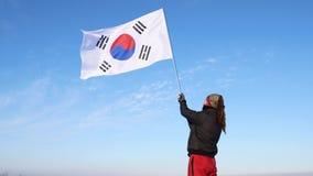 挥动韩国旗子的男性剪影形象 股票视频