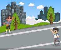 挥动他们的手动画片的街道的孩子 库存图片