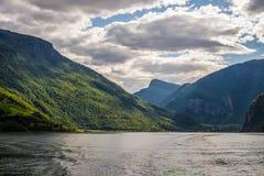 挪威。海湾。Flam 免版税库存照片