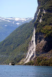 挪威七姐妹瀑布 免版税库存照片