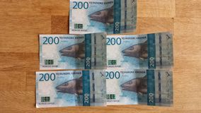 挪威人200冠纸币货币的新的2017年编辑 库存图片