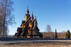 挪威传统梯级教会 库存照片