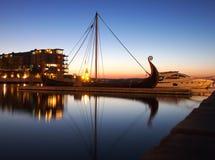 挪威北欧海盗,小船在港口,挪威, tonsberg 图库摄影