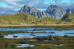 挪威北部典型的风景  库存图片