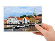 挪威在手中旅行摄影(斯塔万格) 免版税库存照片