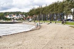 挪威城市的海岸线 库存照片