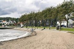 挪威城市的海岸线 图库摄影