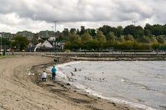 挪威城市的海岸线 免版税库存图片