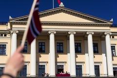 挪威宪法天手和旗子 免版税库存照片