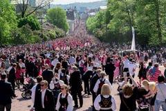 挪威宪法天游行 免版税库存照片