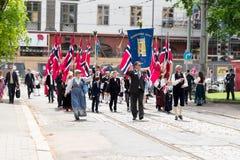 挪威宪法走读学校人群 库存照片