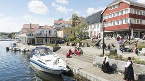 挪威居民休息在阳光下 图库摄影