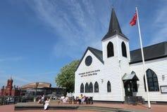 挪威教会维多利亚艺术中心加的夫威尔士 图库摄影