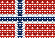挪威旗子在心脏 免版税库存图片
