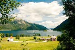 挪威村庄 库存照片