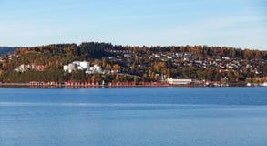 挪威沿海城市风景 库存图片