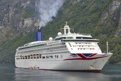 挪威海湾横向 巡航旅行 Geiranger路线 访问 免版税库存照片