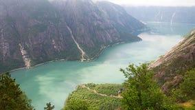 挪威海湾- Eidfjord 图库摄影