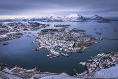 挪威渔村 免版税图库摄影