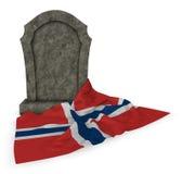 挪威的墓碑和旗子 库存图片