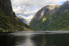 挪威的最狭窄的海湾 库存图片