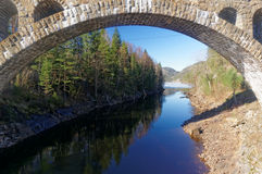 挪威石桥梁 免版税库存照片