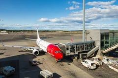 挪威航空公司在奥斯陆机场 库存图片