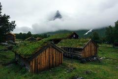 挪威草屋顶老房子 图库摄影