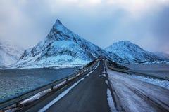 挪威路冬天 免版税库存照片