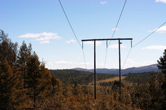 挪威输电线在森林背景中 免版税库存照片