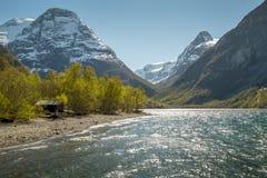 挪威风景在春天 免版税库存图片