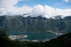 挪威-大海湾panaramic视图 免版税图库摄影