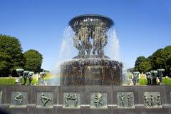 挪威 奥斯陆 维格兰雕塑公园 喷泉Vigeland 图库摄影