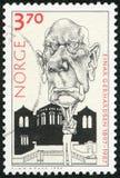 挪威- 1997年:展示Einar亨利Gerhardsen 1897-1987,总理 库存照片