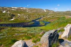 挪威 照看旅途通过在山的通行证 图库摄影