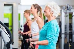 振动片的老和青年人在健身房 免版税库存照片