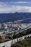 振翼在山的佛教祷告旗子 免版税图库摄影