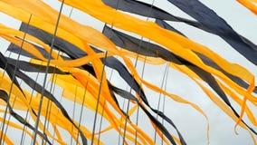 振翼在风的黄色和黑旗 影视素材