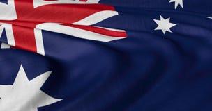 振翼在轻风的澳大利亚旗子 免版税图库摄影
