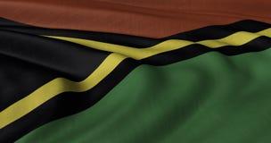 振翼在轻风的瓦努阿图旗子 免版税库存照片