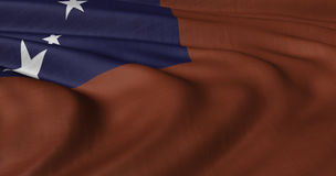 振翼在轻风的萨摩亚旗子 免版税库存照片
