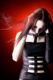 振翼的goth头发妇女 免版税图库摄影