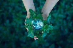 挽救能量概念,拿着在绿色自然的手地球 免版税库存照片